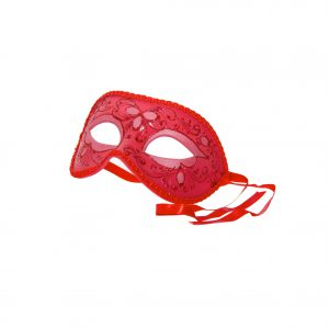 Rote, filigran verzierte Maske aus Gips