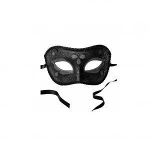 Schwarze, filigran verzierte Maske aus Gips