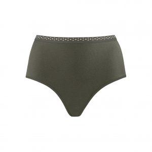 dunkelgrüner, hoher Taillen-Slip, Satin-Stoff