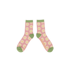 bunte Bambus-Damensocken Gänseblümchen pink
