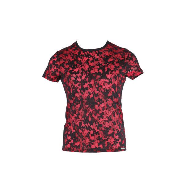Rundhals-T-Shirt rot mit schwarzer Spitze
