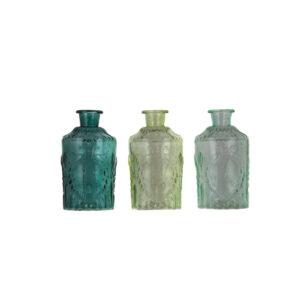 strukturierte Glasflaschen 3-er Set, grüntöne