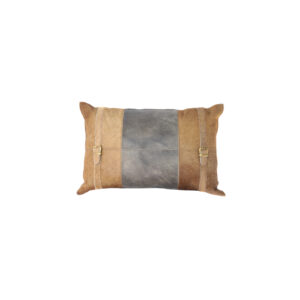 Echtleder-Kissen 40x60, Kuhfell mit Schnallen, braun