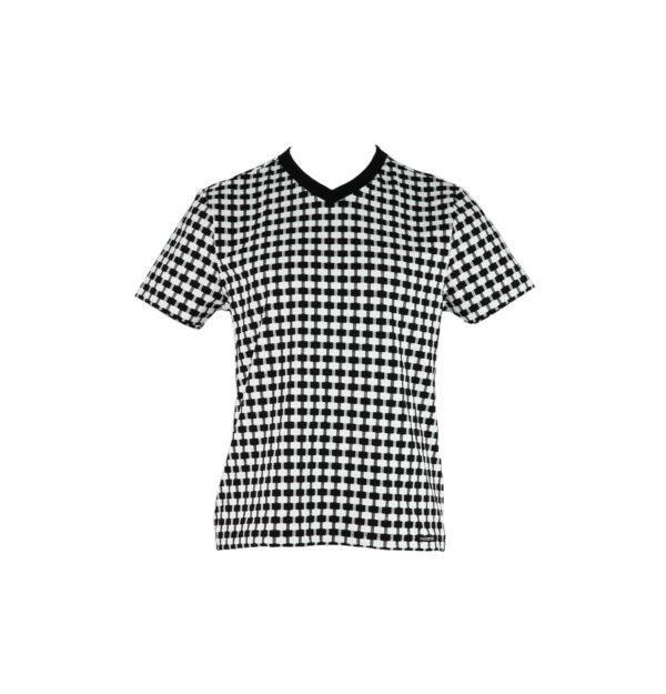 Kurzarm Herren-T-Shirt, schwarz/weiß