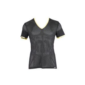 kurzarm Herren-T-Shirt, schwarz/gold, transparent