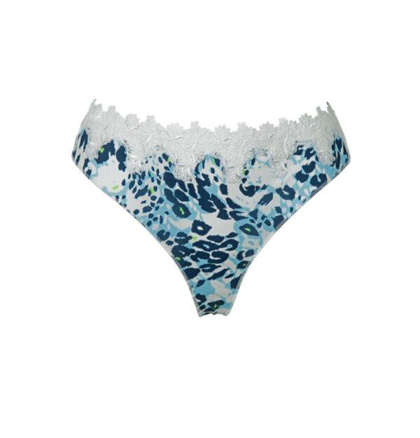 Satin-String, flache Nähte, weiß mit blauen Camouflage